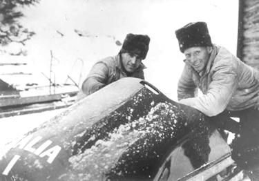 Eugenio Monti (a destra) con Sergio Siorpaes
