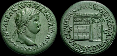 un sesterzio con l'effige di Nerone