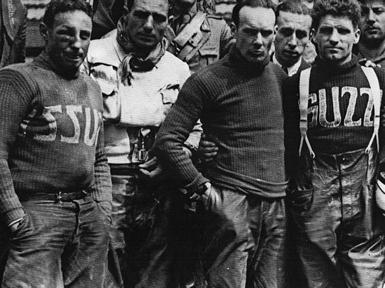 da sinistra Guido Corti, Giordano Aldrighetti e Omobono Tenni