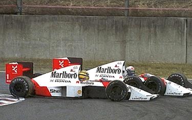 Senna e Prost subito dopo il contatto