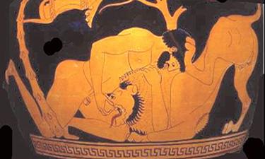 Eracle contro il leone alle Nemee.