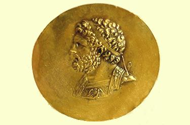 un medaglione raffigurante Filippo II di Macedonia