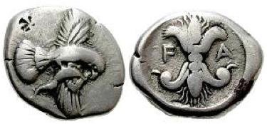 AR Statere di Elis (ø 22 mm - g 11,44), coniato forse nello stesso Santuario di Olimpia attorno al 450 a.C.