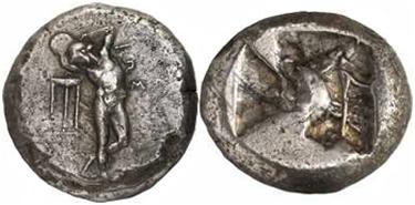 AR Triplo Siclo di Kos (Caria) (g 16,58), coniato attorno al 480 a.C.