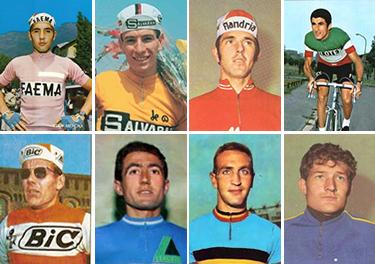 la rosa dei favoriti-in alto: Eddy Merckx, Felice Gimondi, Roger De Vlaemink, Franco Bitossi in basso: Jan Janzzen, Italo Zilioli, Walter Goodefrot, Cyrille Guimard