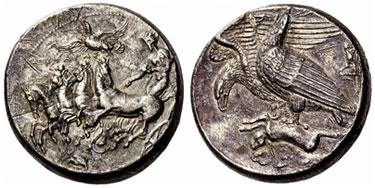 AR Decadramma di Akragas  (Agrigento) (g 42.42), coniato nel 410-406 a.C.