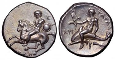 AR Didramma di Taras (Taranto) (g 7,75),  coniato nel 280-272 a.C.