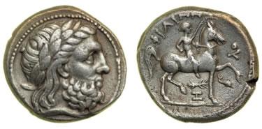 AR Tetradramma di Filippo II (g 13.98), coniato ad Amphipolis tra il 356 e il 336 a.C.