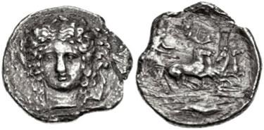 AR Tetradramma di Katana (Catania) (ø 29 mm - g 14,44),  coniato nel 405-402 a.C.