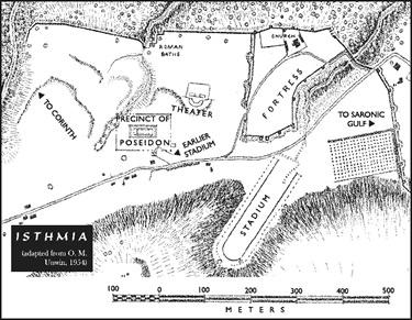 Mappa di Isthmia, sede dei Giochi Istmici