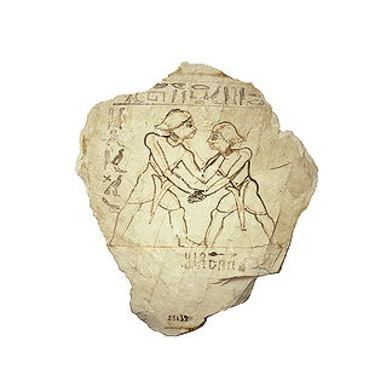 L'ostrakon di una tomba ritrae due lottatori