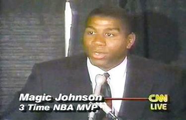 Magic Johnson durante la conferenza stampa (CNN)
