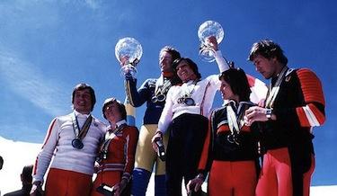 La squadra di sci alpino elvetica nel 1977