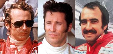 tre grandi rivali- Lauda, Andretti e Regazzoni