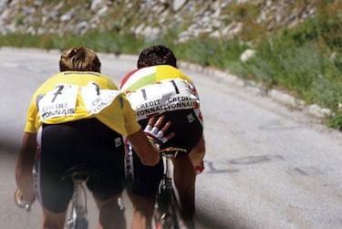 Hinault e LeMond sulla salita