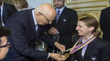 Sara Morganti ricevuta da Giorgio Napolitano (© FIse )