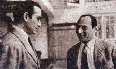 Emilio Bulgarelli e Bandy Zolyomy in un'immagine del 1950
