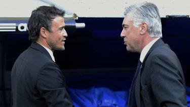 Luis Enrique e Carlo Ancelotti a bordo campo
