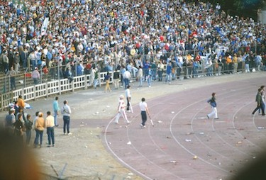 La curva dei tifosi juventini in attesa dell'inizio della gara